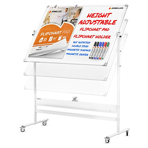 Mobile Whiteboard - 46x32 Large Height Adjust 360° Rolling Double Sided Dry Erase Board, Magnetic White Board on Wheels, Office Classroom Portable Easel with Stand, Flip Chart Holders and Pad | White