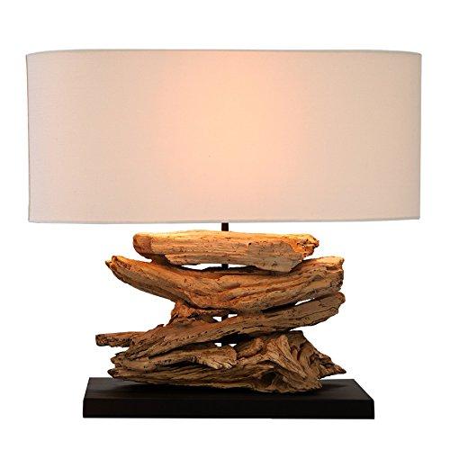 *Design Treibholz Tischleuchte RIVERINE Leinen Schirm Handarbeit Tischlampe Wohnzimmerleuchte Treibholzlampe*