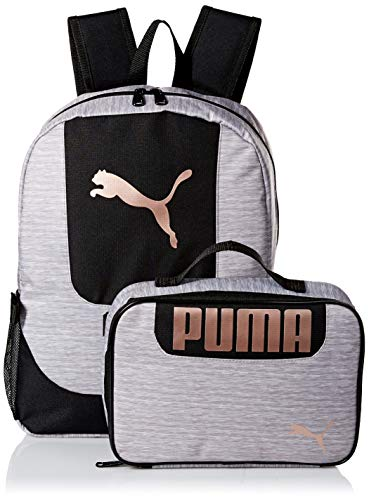 PUMA Girls' Big Lunch Box Backpack Combo, Gray/black, Youth Size