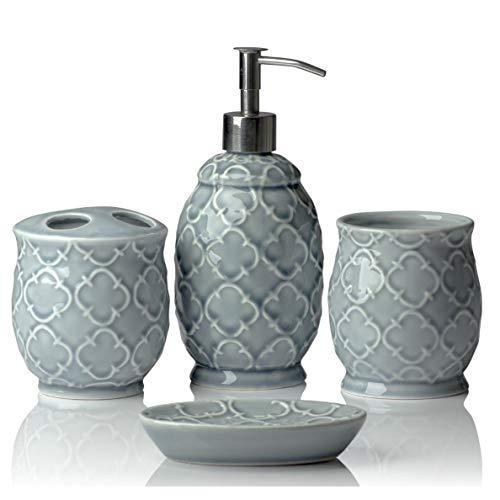 Designer Set di 4 pezzi di accessori per il bagno in ceramica | Include distributore di sapone liquido o lozione con portaspazzolino, vetro, portasapone, portasapone | Reticolo marocchino | Grigio