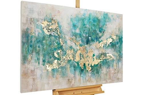 Kunstloft Cuadro acrílico 'Consciousness' 120x80cm | Original Pintura XXL Pintado a Mano en Lienzo | Abstracto Beige Azul petróleo Moderno | Mural acrílico de Arte Moderno en una Pieza con Marco