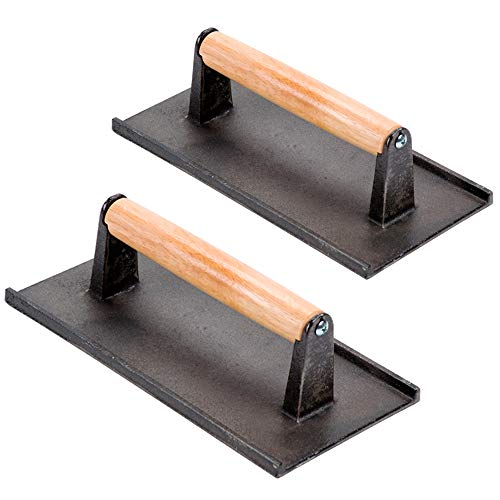(Set of 2) Cast Iron Steak Weight/Bacon Press with Wooden Handle, 9 x 5-Inch Heavy-Weight Grill Press