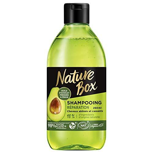 Nature Box - Shampooing Réparation Avocat - Cheveux abîmés et cassants - Formule Vegan - 98 % d'ingrédients d'origine naturelle - Contenant de 250 ml