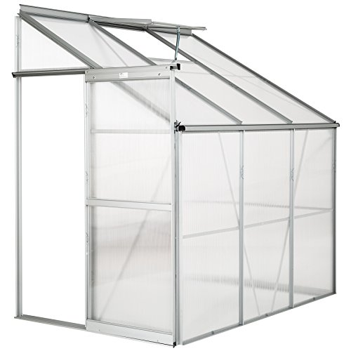 TecTake Lean to Greenhouse polycarbonate aluminium growhouse with window and sliding door - different models - (192x128x202cm | no. 402470)