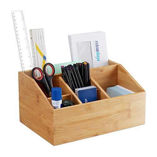 Relaxdays Tischorganizer Bambus, 6 Fächer, mit Stiftehalter, mit Briefhalter A5, Büro Organizer HBT 14x28x19,5 cm, natur, 1 Stück