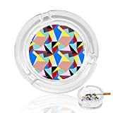 Bauhaus Style Pattern Crystal Ashtray Cigarettes And Cigars Ash Tray Holder Glass Round Case Indoor Outdoor Decor