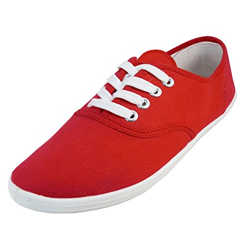 Shoes 18 Womens Canvas Shoes Lace up Sneakers 18 Colors Available (9 B(M) US, Red 324)