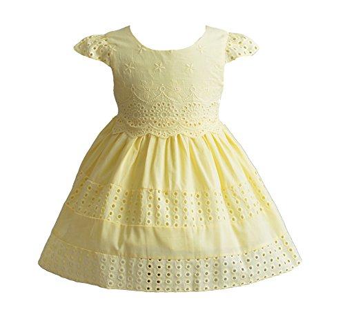 Cinda Fête d'été bébé Filles Court à Manches Coton Robe Jaune 18-24 Mois