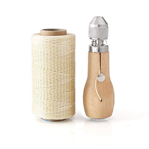 Professional Speedy Stitcher Sewing Awl Hand Stitcher Repair Tool Kit for Leather and Heavy Fabrics with 2Pcs Needles,1Pcs Coil and 260 Meter 150D 0.8MM Flat Sewing Waxed String(Beige)