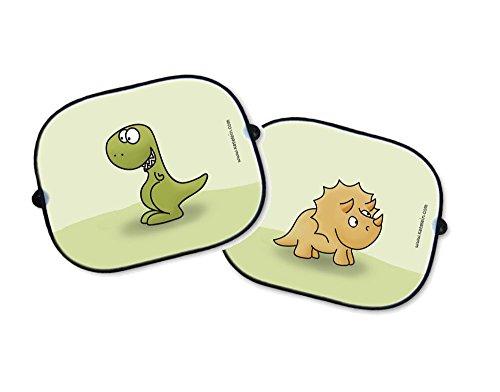 SET Parasol para ventanillas de coche - Auto Protección Solar Set dinosaurios – triceratops e tiranosaurio - Auto Niños Protección