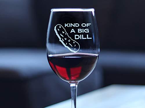 Copa de vino divertida tipo de eneldo grande grabado copa de vino grabado grabado con tallo, 11 oz