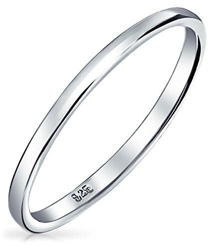 Einfache Minimalistische Schmal Stapelbar 925 Sterling Silber Paare Hochzeit Band Ringe Für Herren Für Damen 2MM