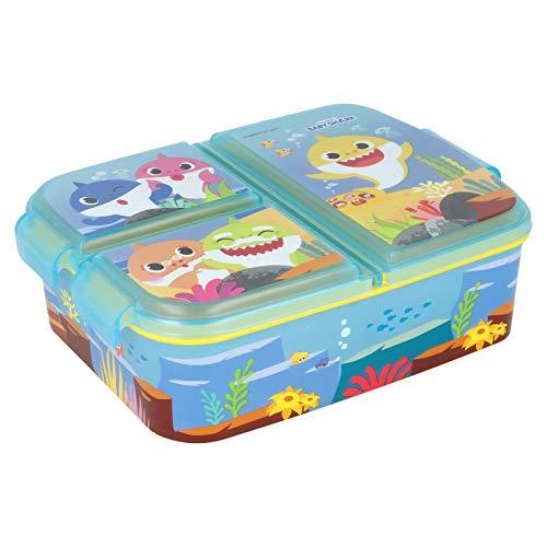 Baby Shark   Sandwichera con 3 Compartimentos para niños - lonchera Infantil - Porta merienda - Fiambrera Decorada