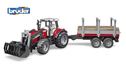Bruder 2046 Massey Ferguson 7480 met voorlader en houttransportaanhanger, grijs/rood