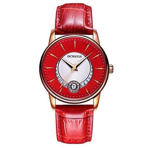 SUYANG Mujeres Relojes Rhinestone Reloj Reloj De Cuarzo Moda Hombres Mujeres Movimiento De Cuarzo Reloj Rhinestone (Caja De Oro Rosa + Correa Roja)