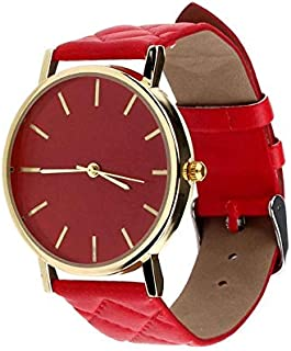 Casual watch with a leather belt for women - red color