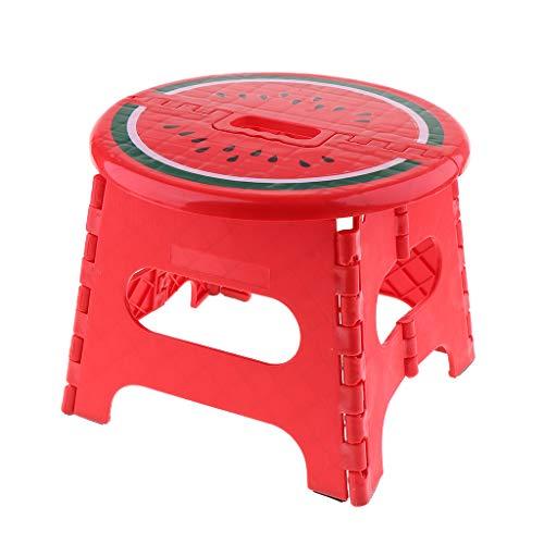 Faltbarer Klappbarer Klapphocker Klapptritt Tritthocker bis zu 120kg Belastbar - Rot-L (Wassermelone)