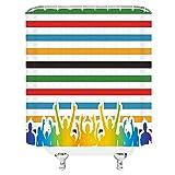 Cortinas de Ducha de Rayas de Colores Simple Elegante Multitud de vítores Colores del Arco Iris Decoración de baño Cortina de Tela impermeable-72 X 72 Pulgadas