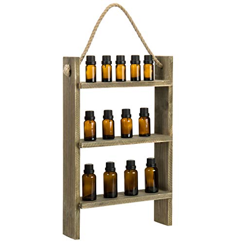 MyGift 3 Tier Vintage Gray on Brown Reclaimed Style Essential Oil and Nail Polish Wall Hanging Ladder Display Storage Shelf with Rustic Rope
