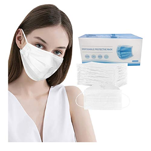 50pcs Adult Disposable Face Mask, 3Ply Fịlters Anti-fog Fɑce Mɑsks for Coronàvịrụs Protectịon Breathable Dust Màsc (White)