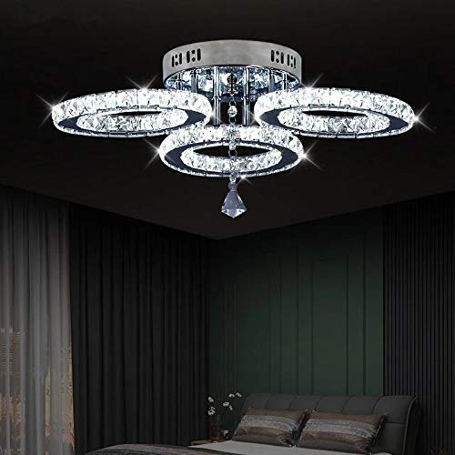 Moderna Lámpara Colgante de Cristal LED 3 Círculo Lámpara de Techo de Cristal de Acero Inoxidable Lámpara de Araña Iluminación Interior para Sala de Estar, Dormitorio, Pasillo, Comedor, Salón