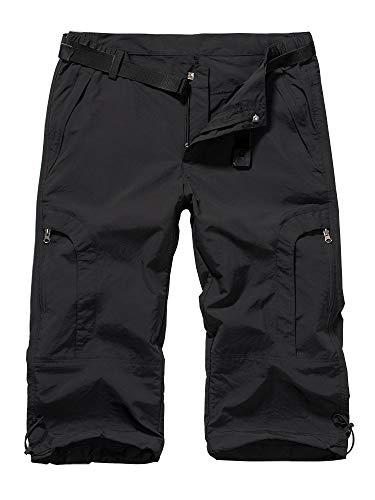 Women's Quick Dry Cargo Hiking Shorts, Casual Outdoor Straight Leg Capri Long Shorts for Hiking Camping Travel,Black,36
