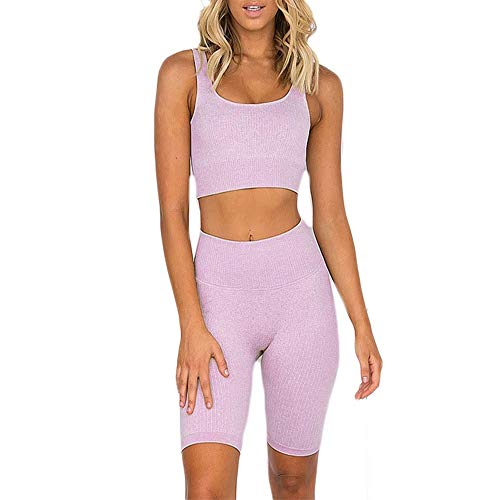 SweatyShark Women's Workout Outfit Set Active 2 Pieces Seamless Bodycon Yoga Shorts with Paded Sports Bra Top Lavender Purple