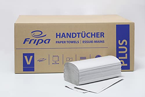 Fripa Plus Handtuchpapier 1lagig, 20x250 Tücher, 100{b6388d3aed3f8df8d65979e20c36a2aefc8f4e3bebc0fe986fb7f2616d042897} Recycling, V-Falz, natur