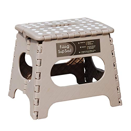 Folding Step Stool  11quot Height  Holds up 300 Lbs Lightweight Foldable Stepping Stool is Sturdy Enough to Support Adults amp Safe Enough for Kids Skid Resistant and Open with one flip Light Tan