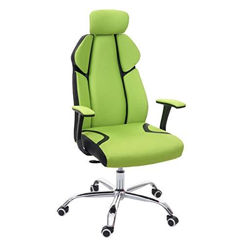Poltrona Sedia da Ufficio ergonomica Girevole HWC-F12 Tessuto Ecopelle - Verde Nero