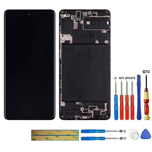 swark Super AMOLED Pantalla compatible con Samsung Galaxy A71 SM-A715F, SM-A715F/DS, SM-A715F/DSN, SM-A715F/DSM (negro con marco), pantalla táctil LCD digitalizador, cristal y herramientas