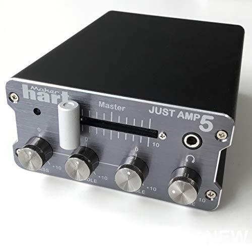 Maker Hart Just Amp 5 - compacte geïntegreerde versterker met phono-voorversterker, actieve 3-bands EQ, zend/return-effectlus - microfoonstandaard houder