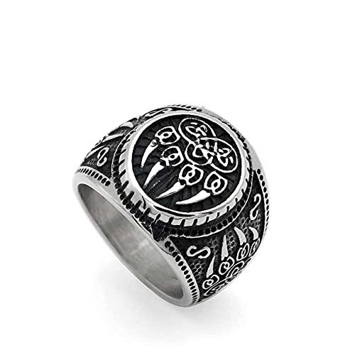 Anillo de pata de lobo vikingo, anillos de acero inoxidable para hombre
