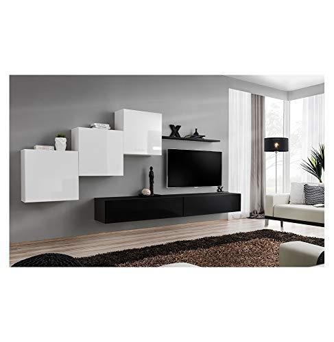 ASM Ensemble TV Mural - 5 éléments - Blanc et Noir