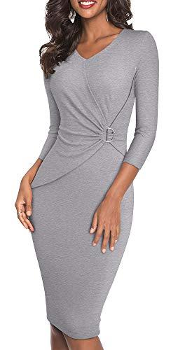 HOMEYEE Women's V-Neck 3/4 Sleeve Pinch Wear to Work Church Dress B487