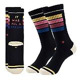All a Dream | J.Clay Premium Tennissocken, Schwarze Retro Socken mit Streifen, JClay Bunte Socken Old School Damen & Herren Sportsocken mit Spruch (43-46) Größen L 43-46