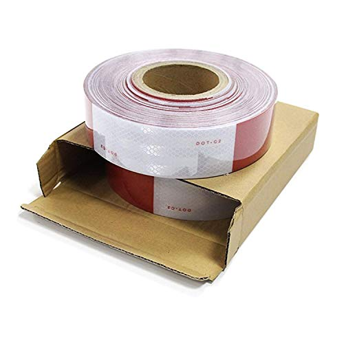 Abrams 2 in x 150 ft Diamond Grade Pattern Trailer Truck Conspicuity DOT Class 2 Reflective Safety Tape - 6 Red / 6 White