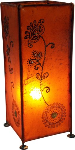Guru-Shop Lámpara Henna, Lámpara de Mesa de Cuero/lámpara de Mesa - Modelo Agra, 38x17x17 cm, Lámparas de Mesa Orientales