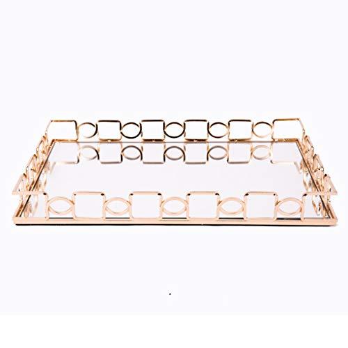 YOYO Almacenamiento de Bandeja de Maquillaje Caja de cosméticos Espejo de Cristal, baño Bandeja Organizador de Vestir Tabla práctica de la Bandeja de Vanity Organizador (tamaño : Large)