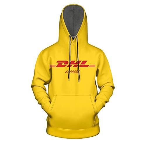 IGJRID Yellow DHL Express Symbol Total Print Pullover Hooded Sweatshirt for Men Fashion Coat
