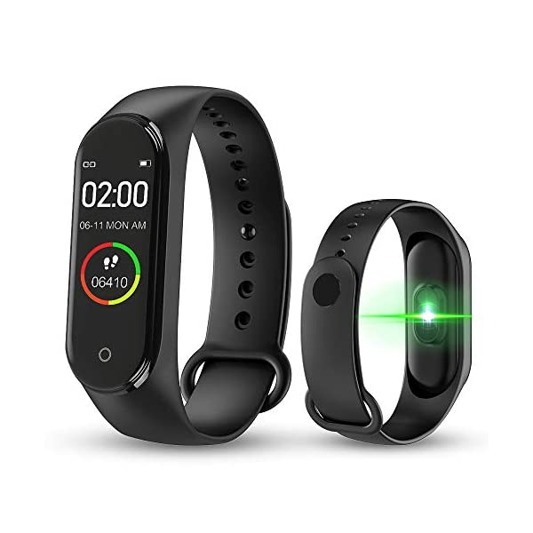 bqlove M4 Fitness Tracker, Reloj De Seguimiento De Actividad con Monitor De Ritmo CardíAco, Banda De Fitness Inteligente… 1