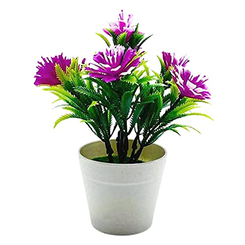 CJFael Planta artificial artificial en maceta para decoración de boda, 1 juego de maceta artificial Kapok Flower Windowsill Ornaments plástico micro paisaje simulación bonsai para jardín rojo púrpura