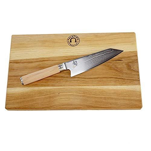 Palatina Werkstatt ® Kai Shun Classic White Kochmesser   DM-0777W Kiritsuke   ultrascharf und limitiert   hochwertiges Damastmesser mit 15 cm Klinge   + großes Eichenbrett 34x21 cm   VK: 239,- €