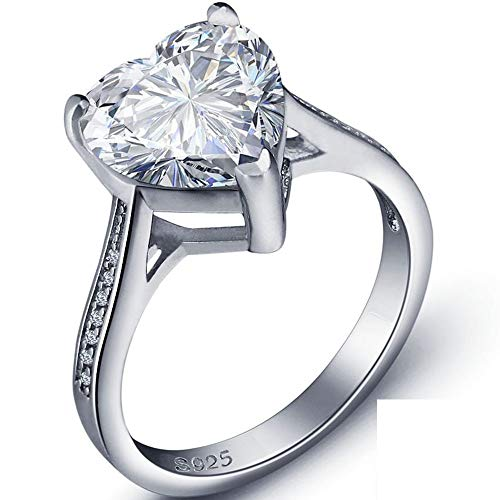 White Gold Plated Silver Heart Shaped Stone Solitaire Style Wedding Engagement Proposal Anniversary...