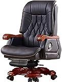 Chaise de bureau d'affaires Bureau en cuir Chaises longues Ascenseur Chaise en bois Accueil Président Ordinateur Pivotant (Couleur: Brun, Taille: 65x64x114cm) XIUYU (Color : Black)