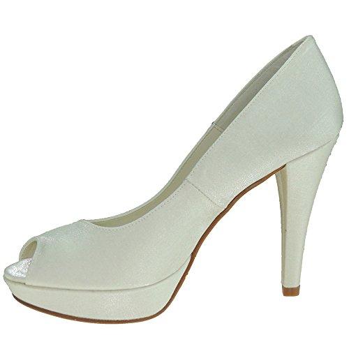 MAYFRAN 5225 Zapato Novia En Raso y tacón de 10,5 CM y Plataforma de 2,8CM para Mujer