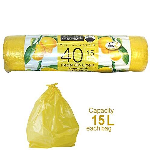 Schone Products (UK) - Sacchetti profumati per pattumiera a pedale – Citrus Limone – Confezione da 40 – aiutano a prevenire gli odori all'interno di un bidone della spazzatura, capacità 15 litri