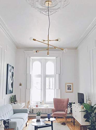 YHtech nórdico Colgante de lámparas de luz Colgante Pulido Madre Mate del Oro Negro contemporáneo Hung lámpara del Accesorio de la lámpara Moderna 6 Luces Colgantes de Montaje Empotrado, Negro