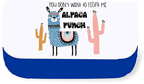 Llama Two – You Don't Wanna Fight with Me. Alpaca Punch Statement Clutch-Style Pencil case - Blue