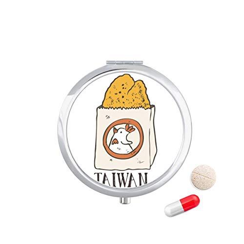 DIYthinker Snake voedsel gebakken kip Taiwan Travel Pocket Pill Case Medicine Drug Opbergdoos Dispenser Spiegel Gift
